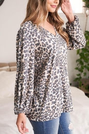 Riah Fashion V-Neck-Puff-Sleeve-Leopard-Top - Back cropped