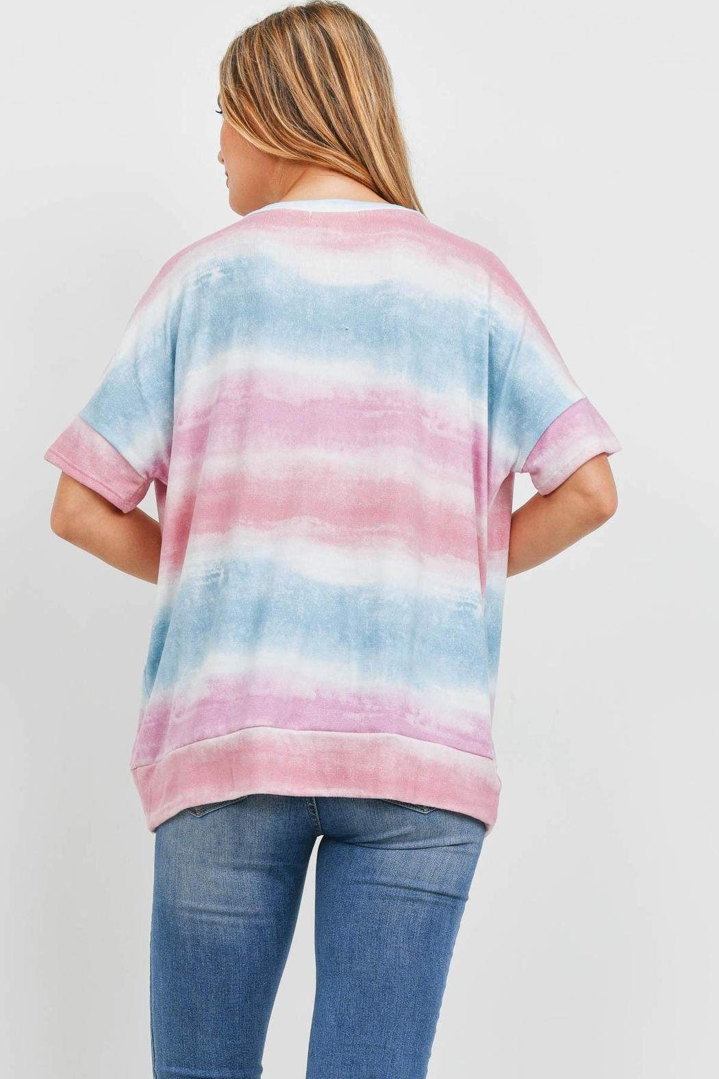 Riah Fashion V-Neck Tie Dye Twist Front Top - Front Full Image