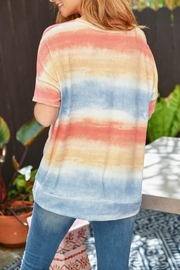 Riah Fashion V-Neck Tie Dye Twist Front Top - Other