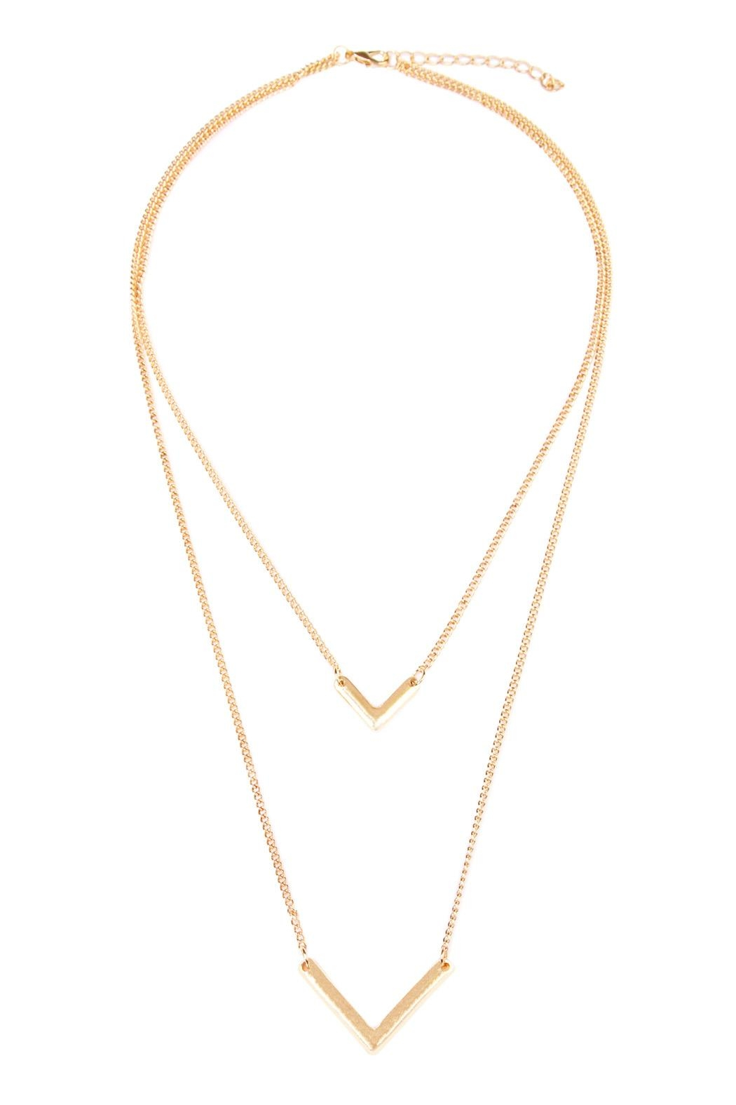 Riah Fashion V-Shaped Layered Necklace - Front Cropped Image