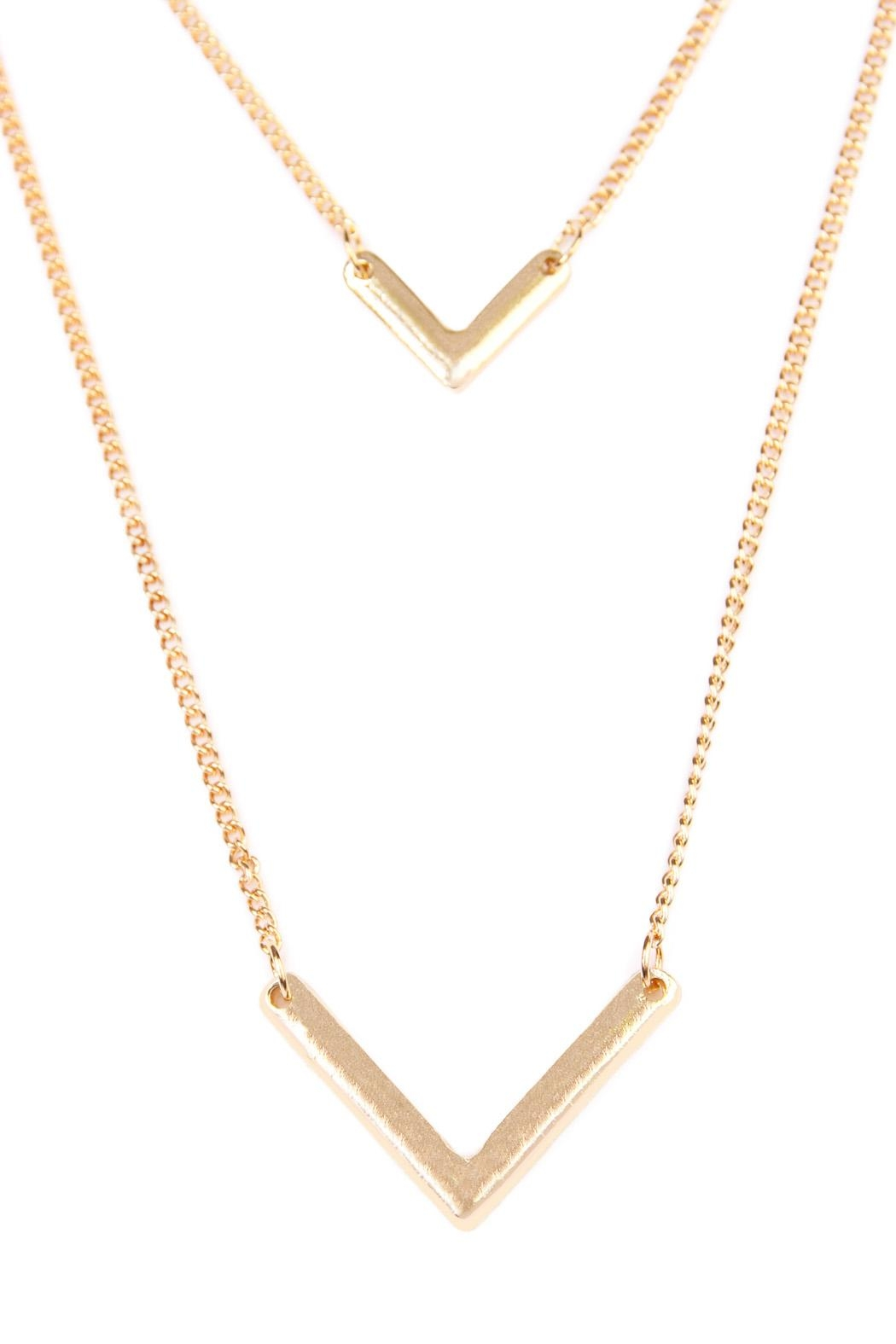 Riah Fashion V-Shaped Layered Necklace - Front Full Image