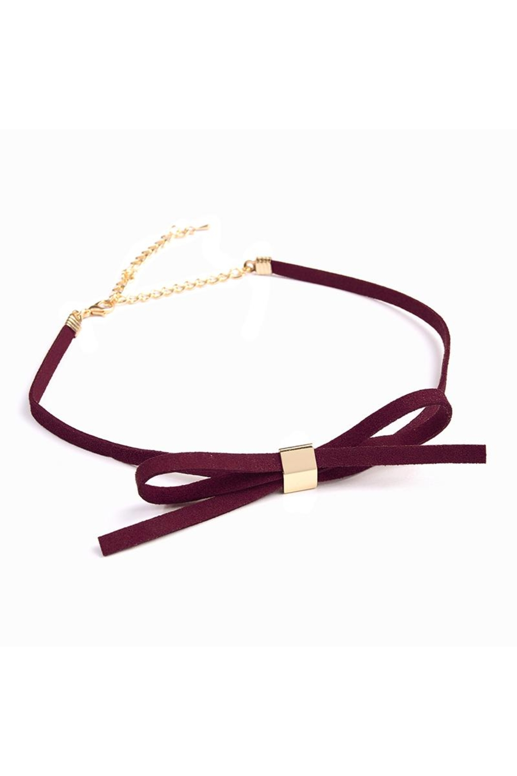 Riah Fashion Velvet Bow Choker - Front Cropped Image