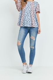 Riah Fashion Vertical Color Block Leopard Top - Other
