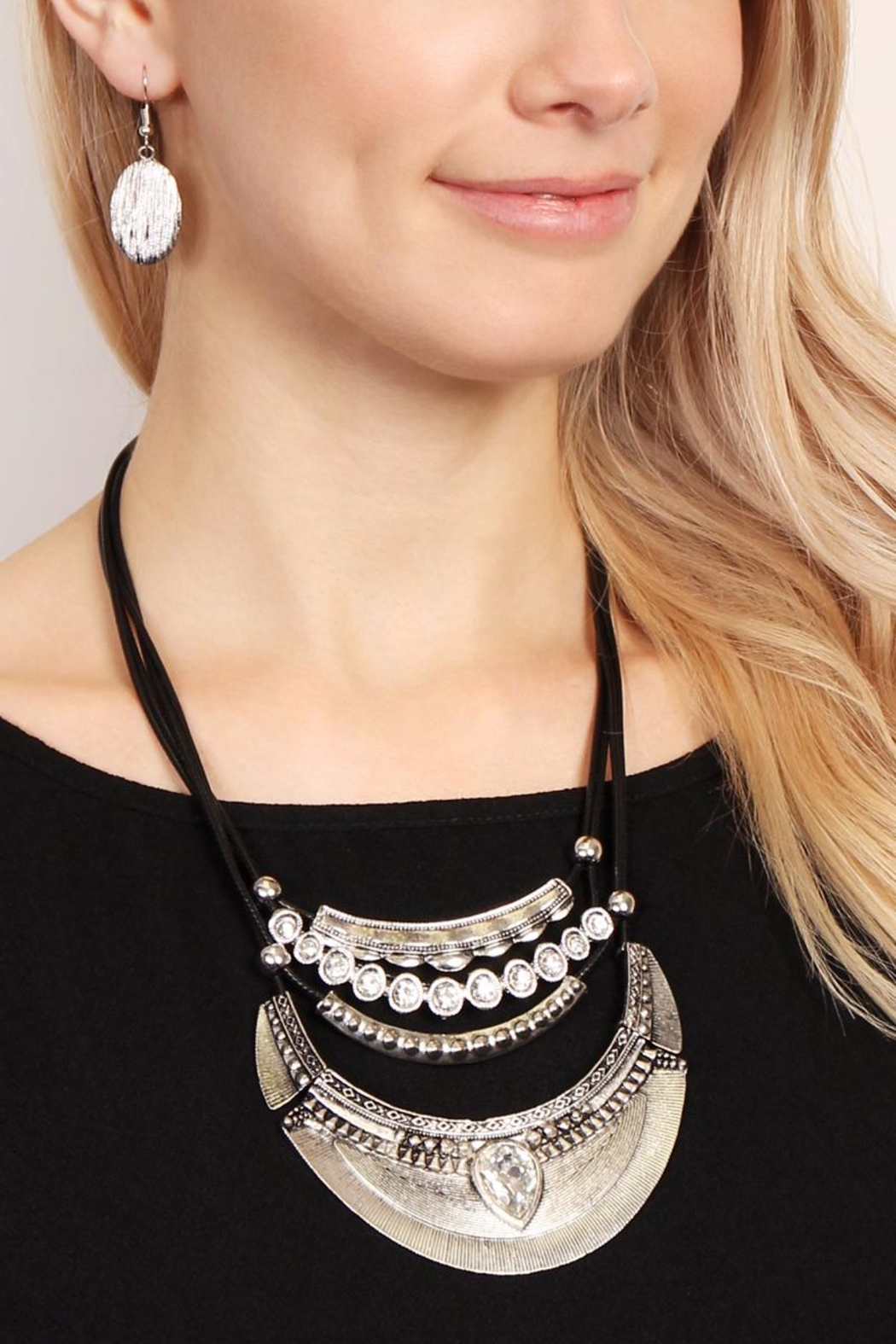 Riah Fashion Vintage-Aztec-Necklace & Earring-Set - Front Full Image
