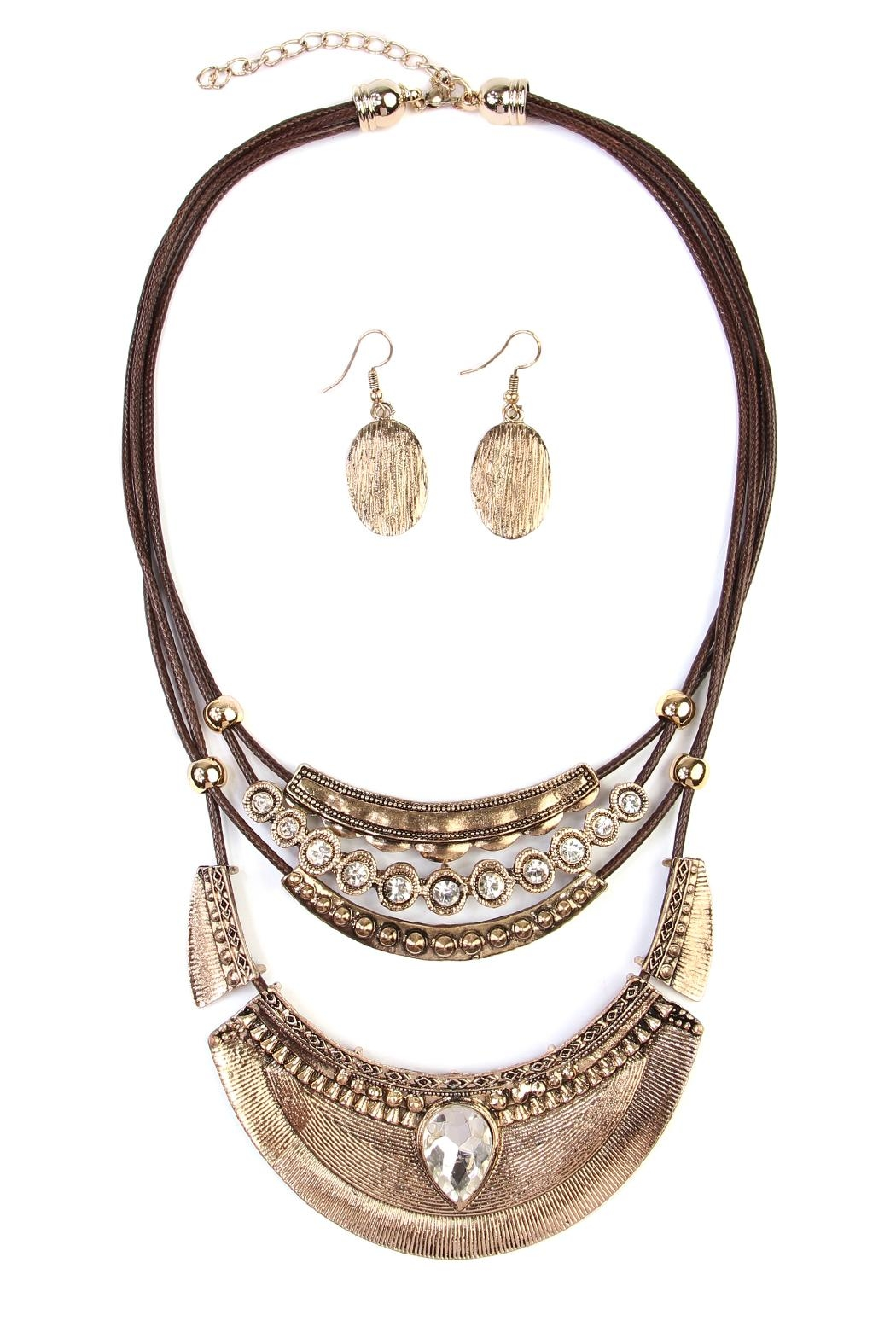 Riah Fashion Vintage-Aztec-Necklace & Earring-Set - Front Cropped Image