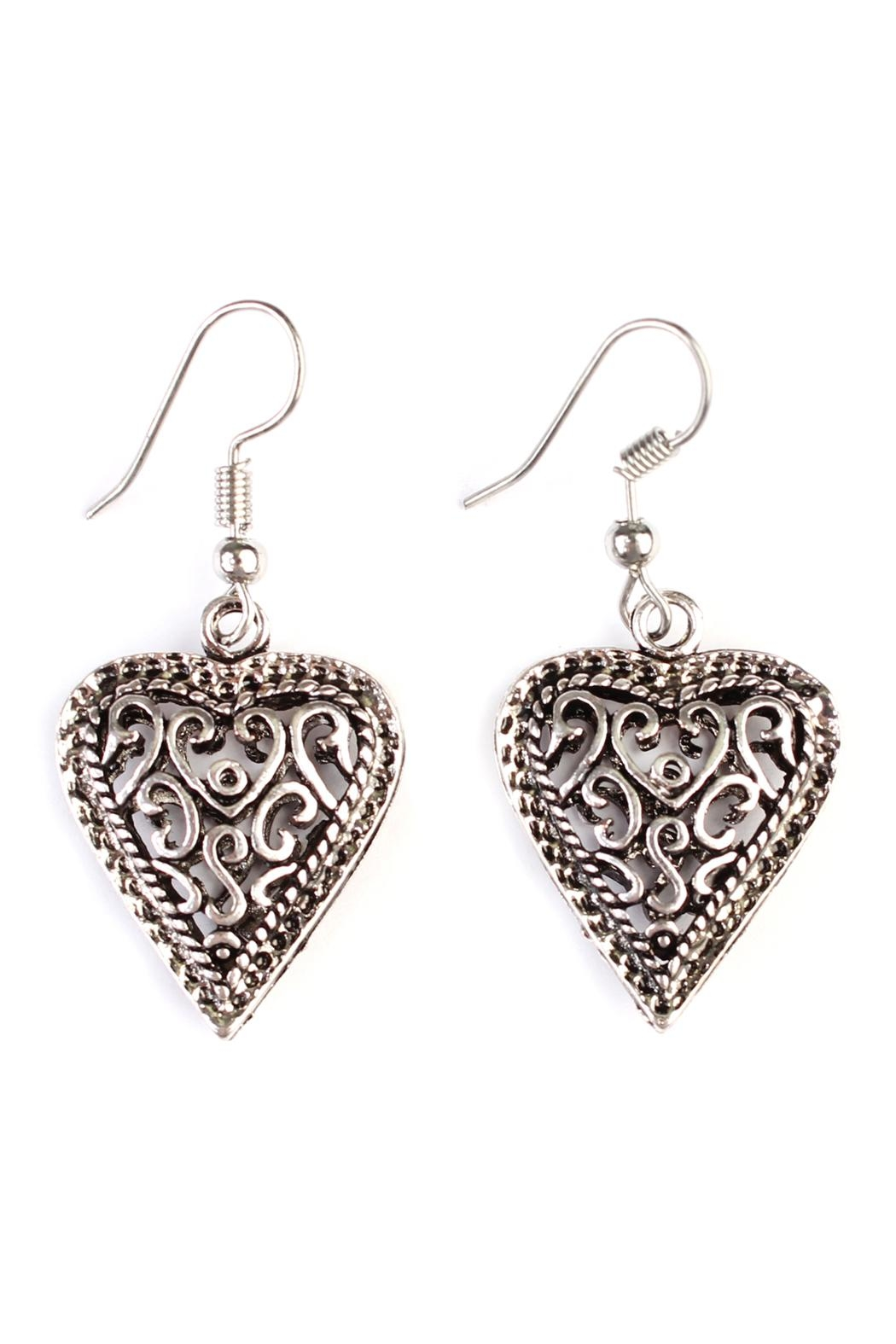 Riah Fashion Vintage Heart Bohemian-Earrings - Front Cropped Image
