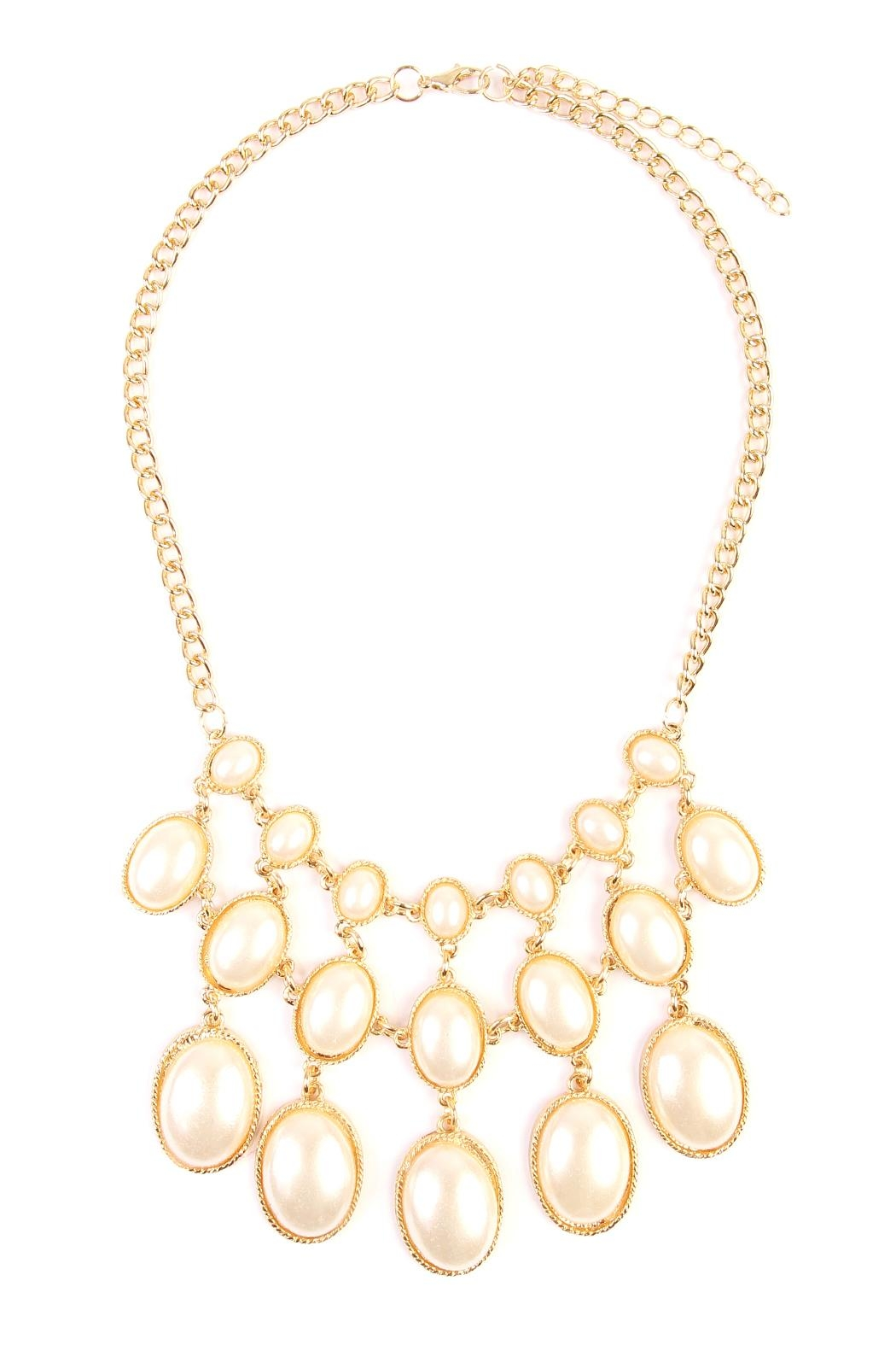 Riah Fashion Vintage Oval Pearl Necklace - Main Image