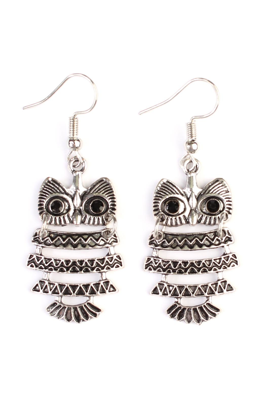 Riah Fashion Vintage Owl Bohemian-Earrings - Main Image