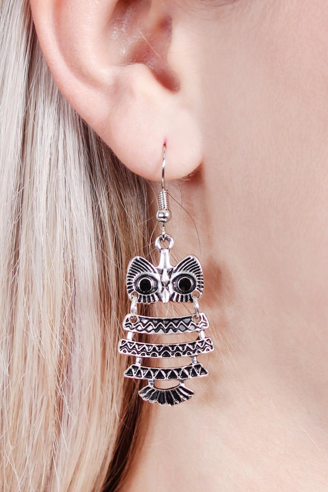 Riah Fashion Vintage Owl Bohemian-Earrings - Side Cropped Image