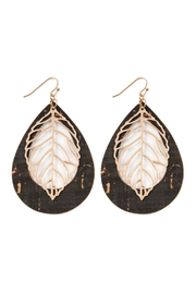 Riah Fashion Vintage Teardrop With Cast Metal Leaf Earrings - Front cropped