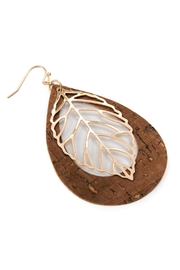 Riah Fashion Vintage Teardrop With Cast Metal Leaf Earrings - Front full body