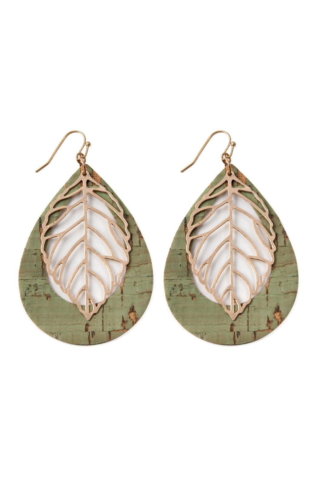 Riah Fashion Vintage Teardrop With Cast Metal Leaf Earrings - Main Image
