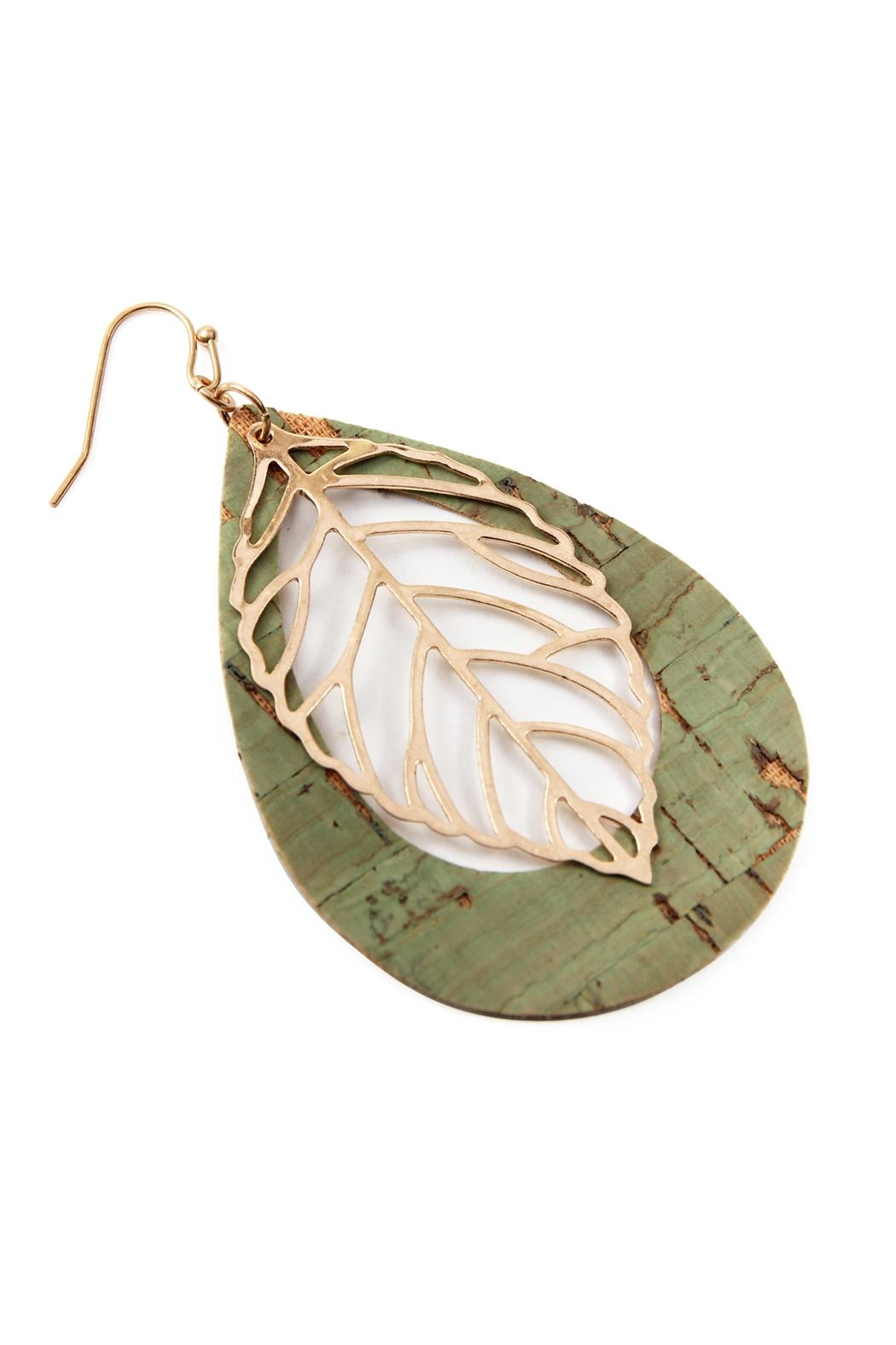 Riah Fashion Vintage Teardrop With Cast Metal Leaf Earrings - Front Full Image