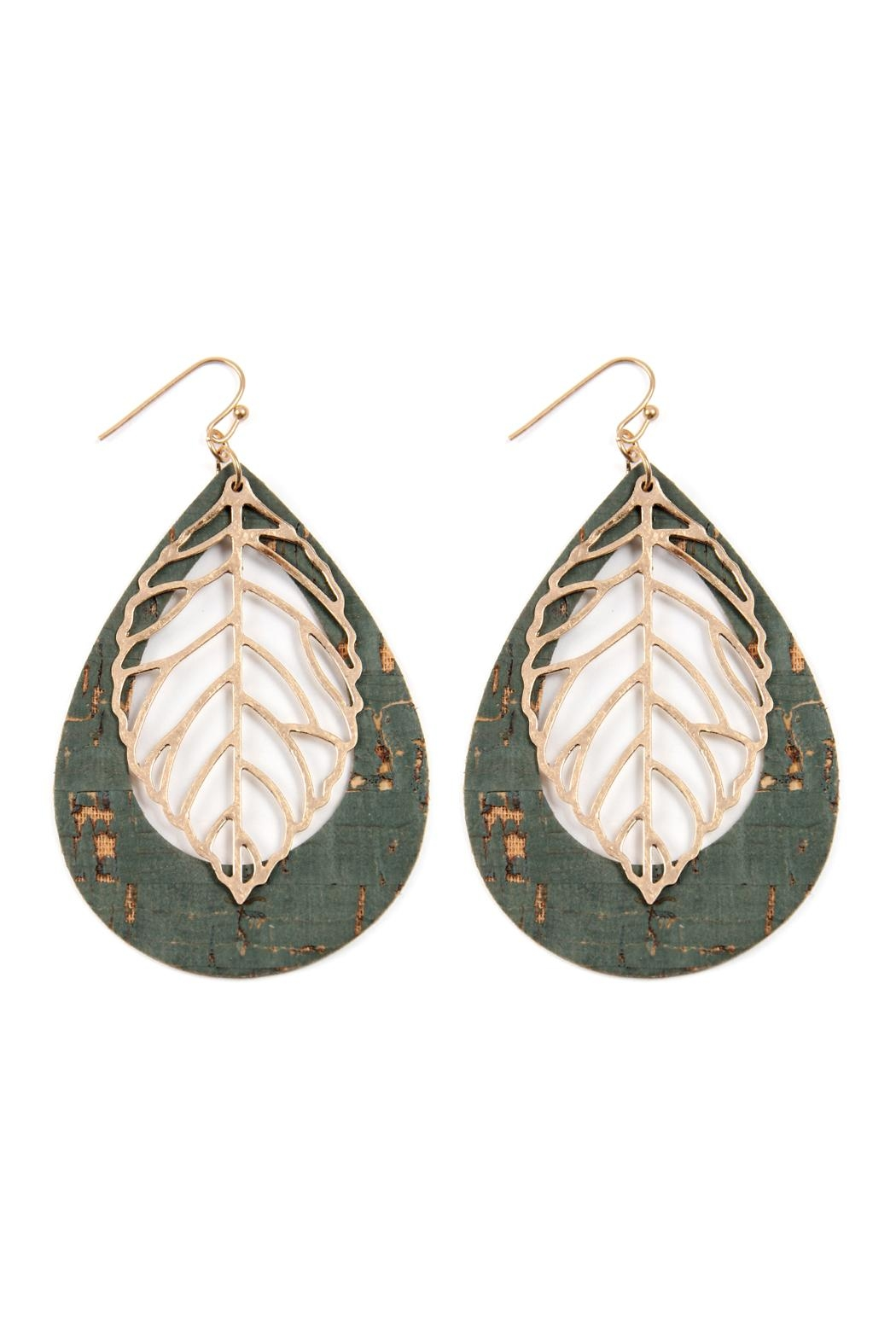 Riah Fashion Vintage Teardrop With Cast Metal Leaf Earrings - Front Cropped Image