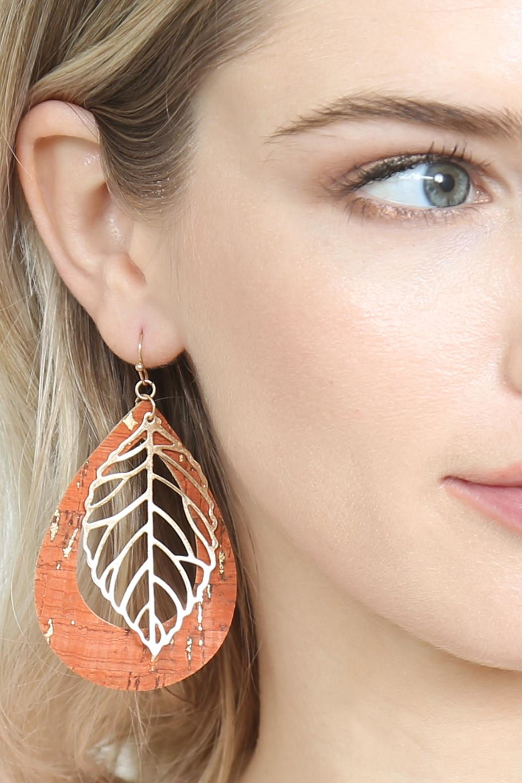 Riah Fashion Vintage Teardrop With Cast Metal Leaf Earrings - Side Cropped Image