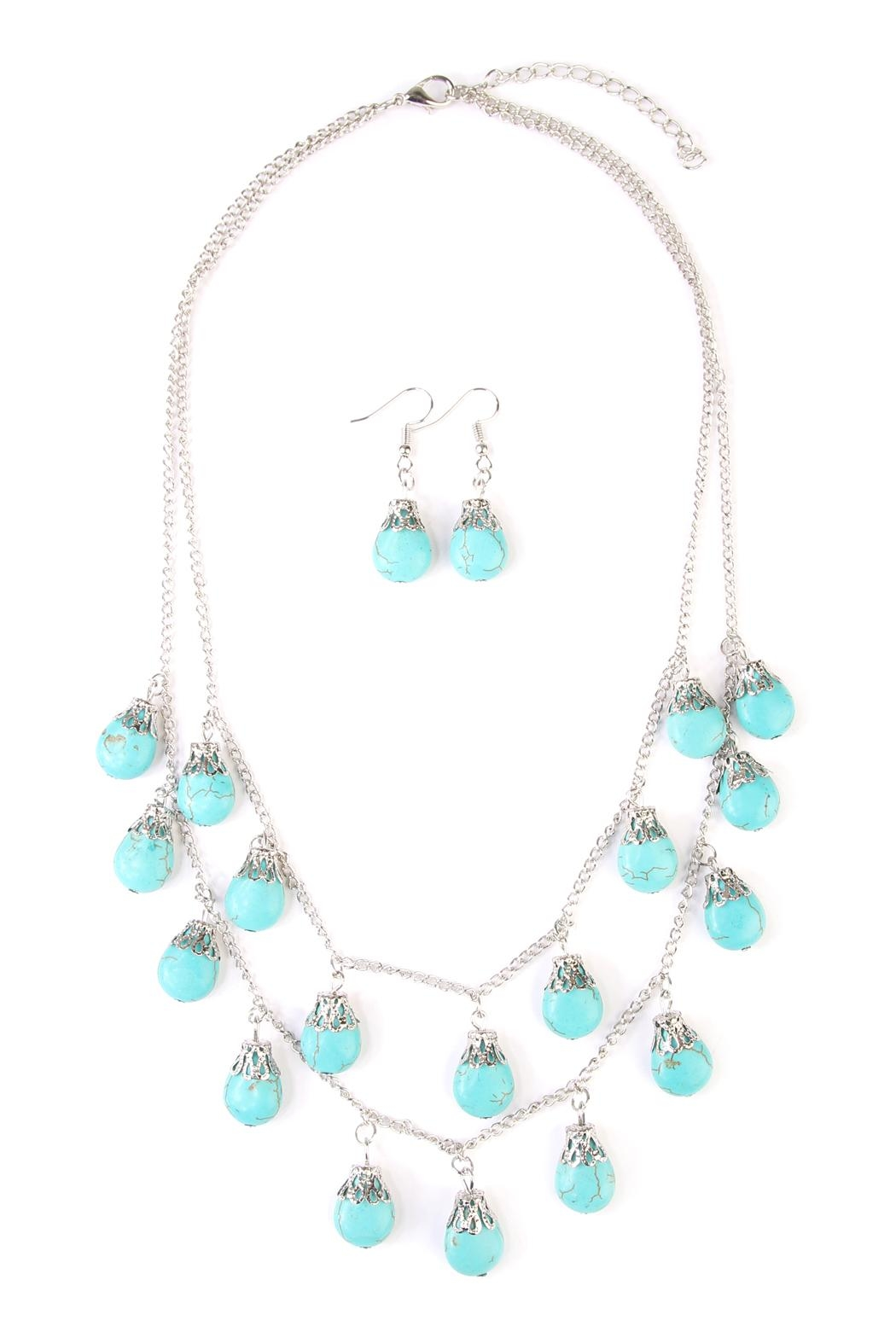 Riah Fashion Turquoise Layer Necklace Set - Front Cropped Image