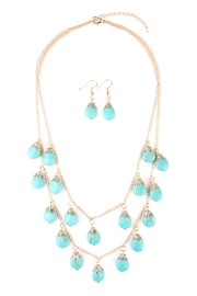 Riah Fashion Turquoise Layer Necklace Set - Front cropped