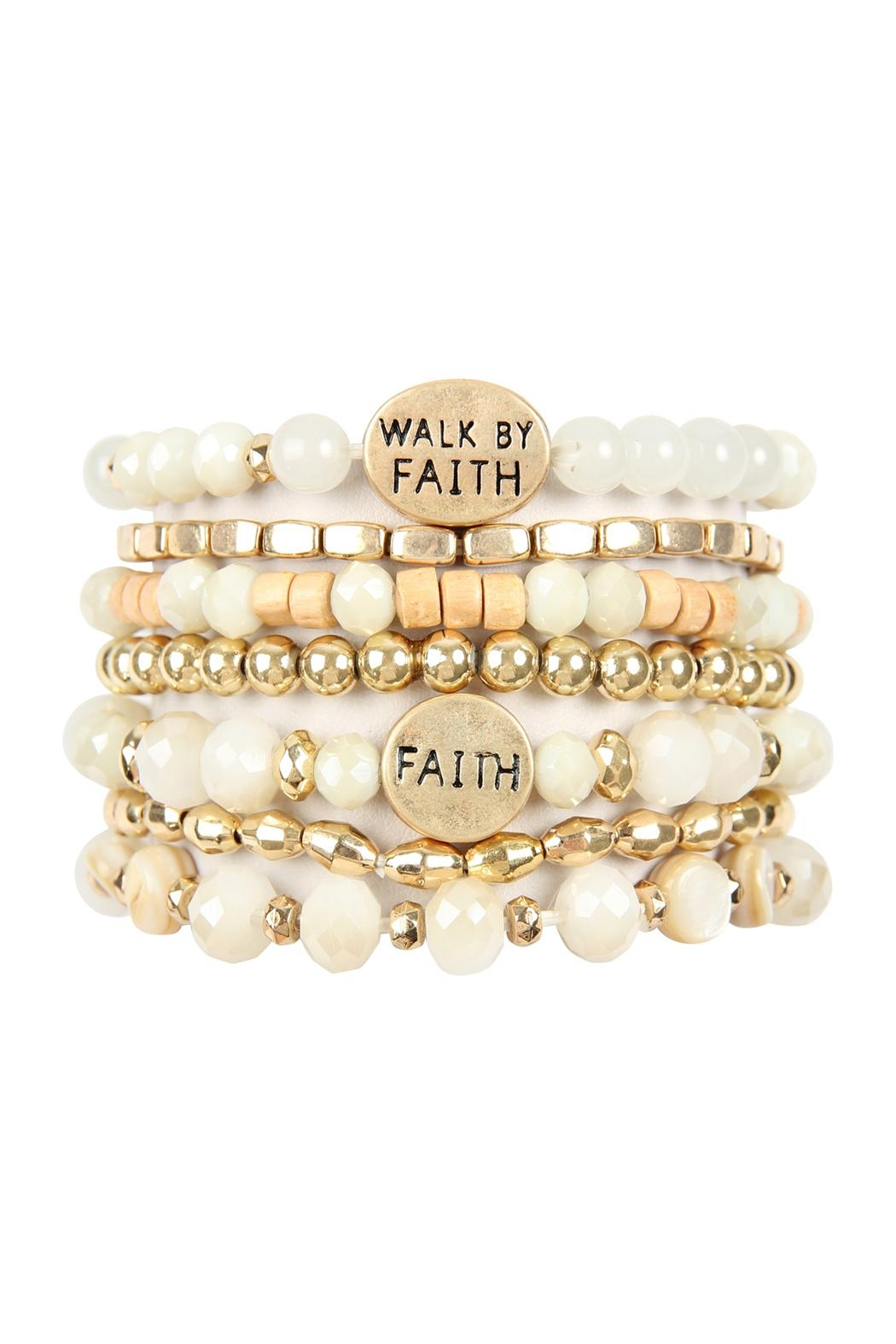Riah Fashion Walk By Faith Charm Mix Beads Bracelet - Front Cropped Image