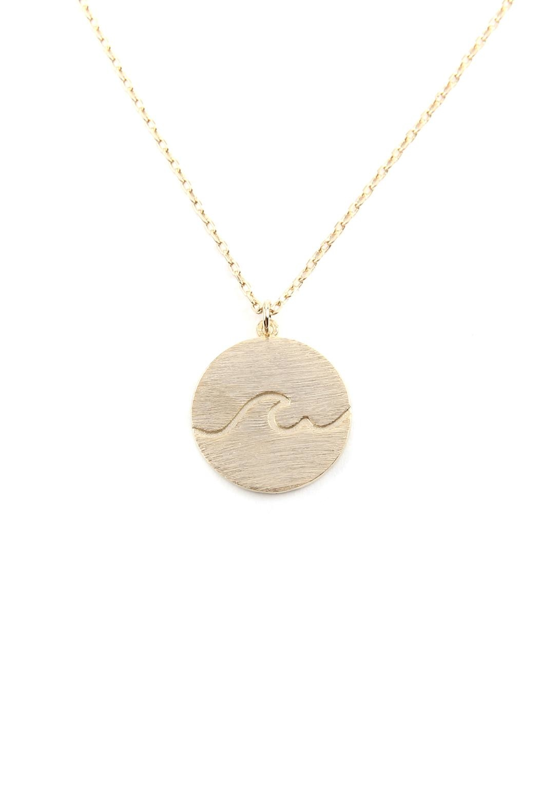 Riah Fashion Wave Round Pendant-Necklace - Main Image