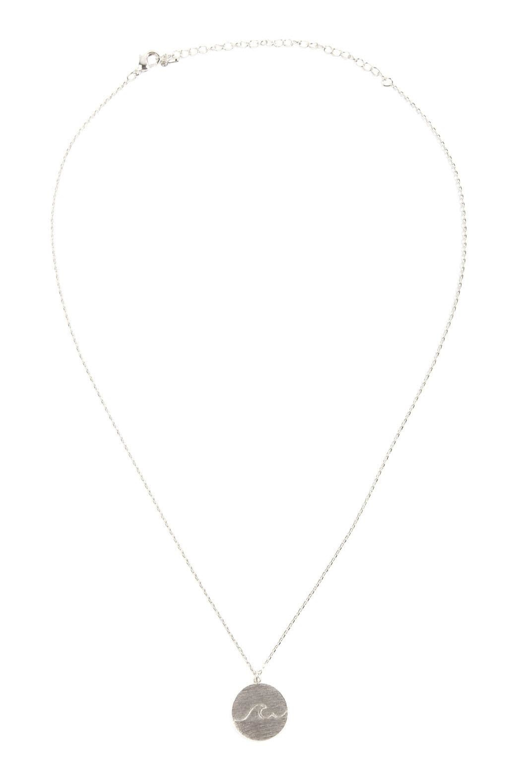 Riah Fashion Wave Round Pendant-Necklace - Front Full Image
