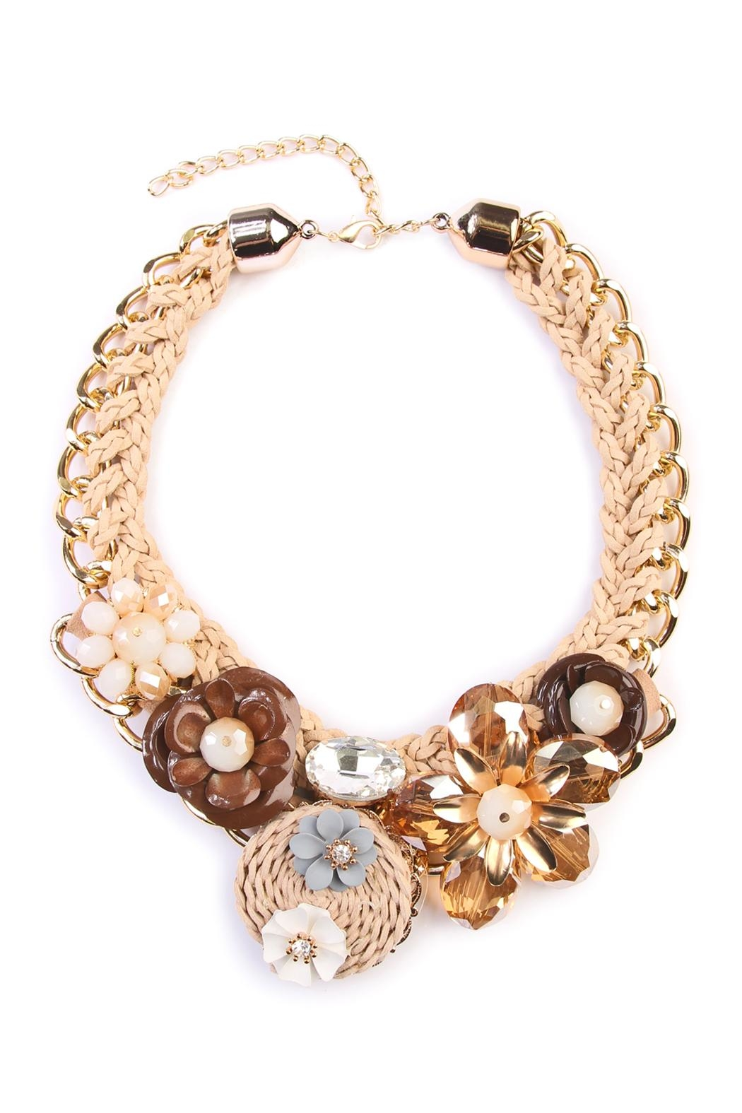 Riah Fashion Weaved Floral Bib Necklace - Main Image