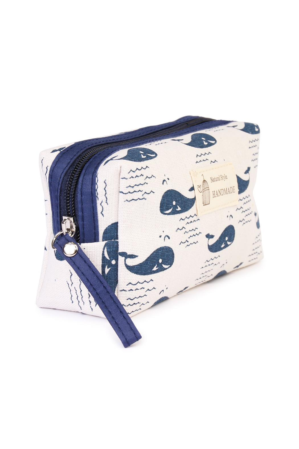 Riah Fashion Whale Cosmetic Pouch - Front Full Image