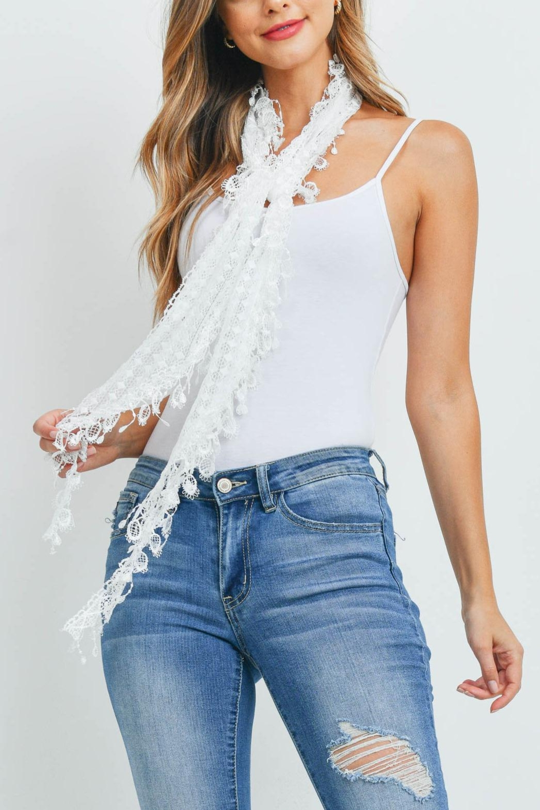 Riah Fashion White Lace Scarf - Front Full Image