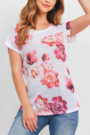 Riah Fashion White-Pink-Flower-Top - Front cropped
