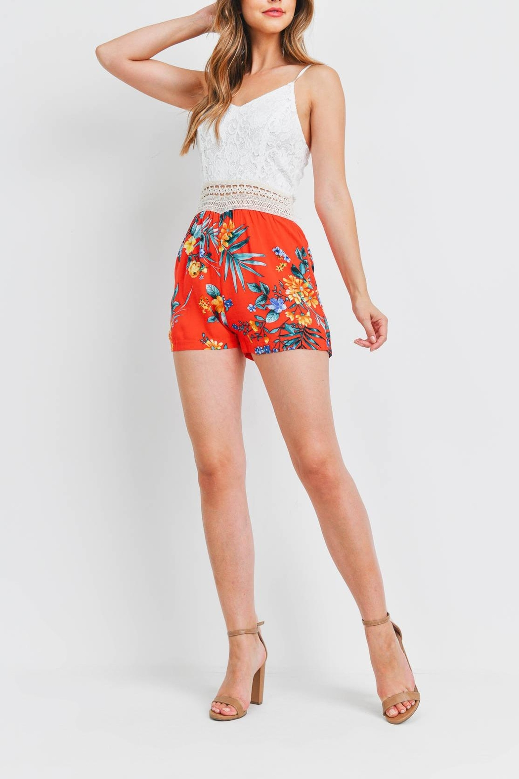 Riah Fashion White-Red-Flower-Romper - Back Cropped Image