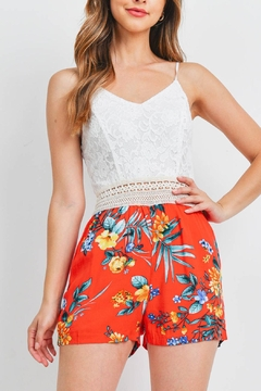 Riah Fashion White-Red-Flower-Romper - Product List Image