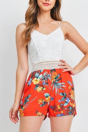 Riah Fashion White-Red-Flower-Romper - Front cropped
