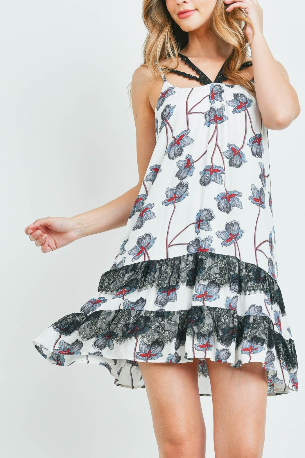 Riah Fashion White-With-Flower Print Dress - Side Cropped Image