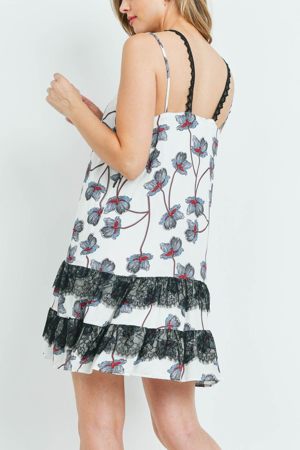 Riah Fashion White-With-Flower Print Dress - Front Full Image