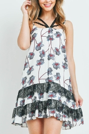 Riah Fashion White-With-Flower Print Dress - Front cropped