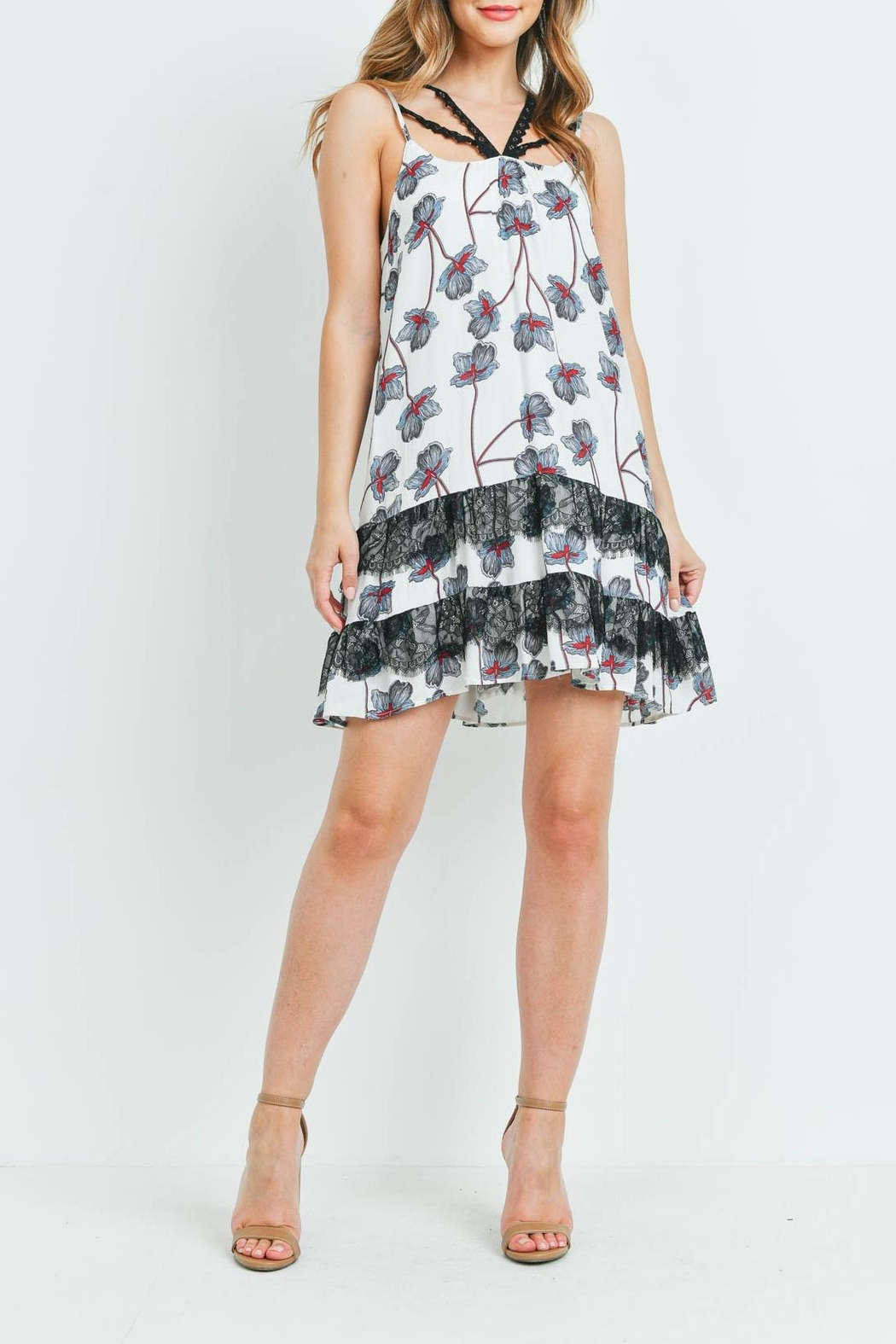 Riah Fashion White-With-Flower Print Dress - Back Cropped Image