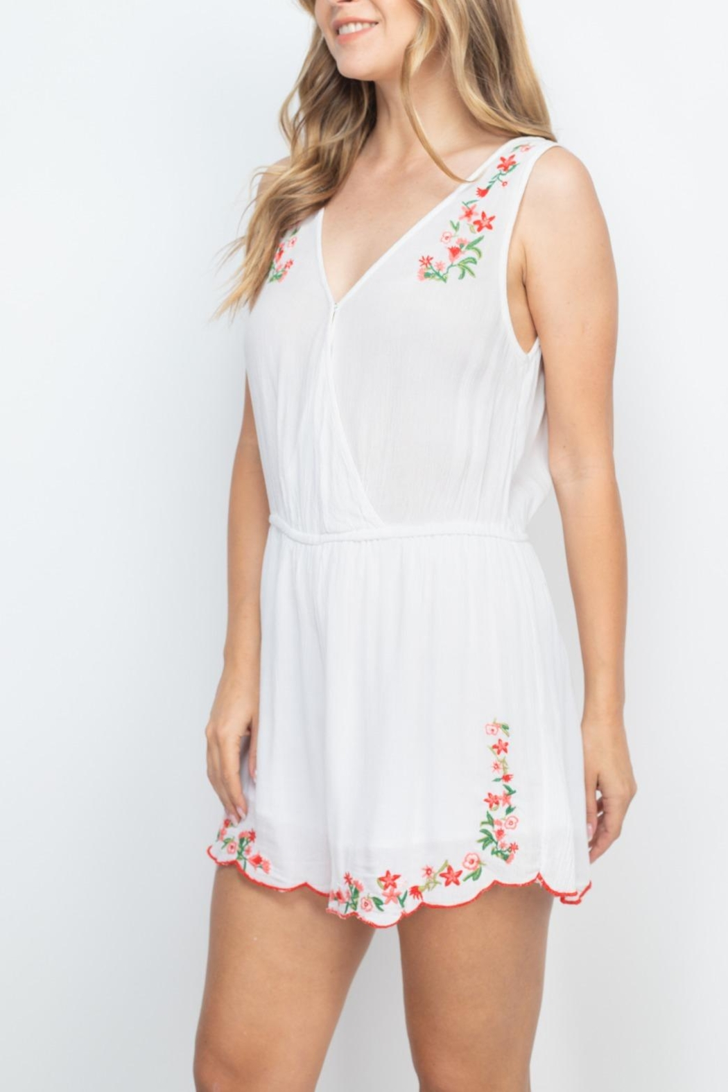 Riah Fashion White-With-Flowers-Embroidery-Romper - Back Cropped Image