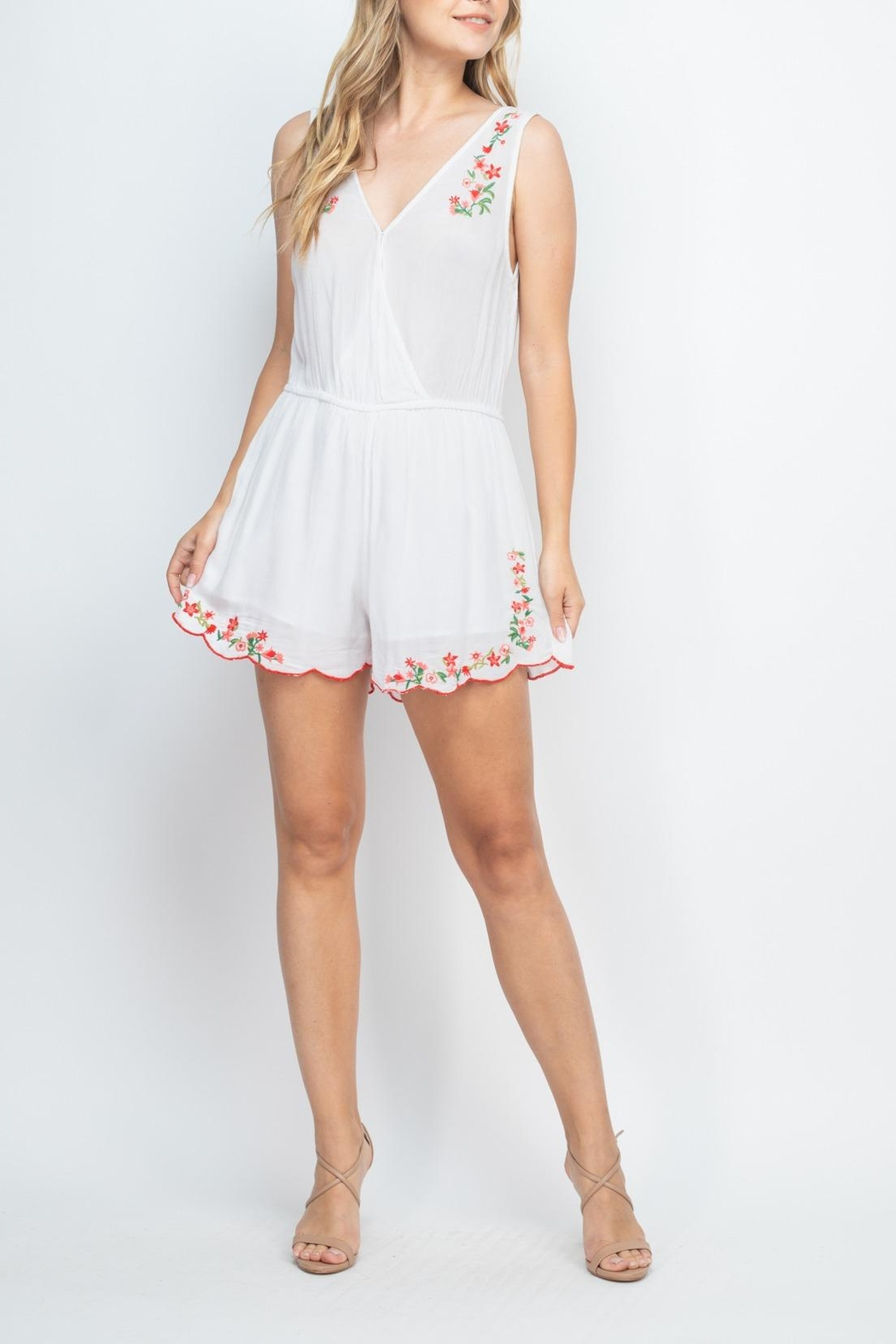 Riah Fashion White-With-Flowers-Embroidery-Romper - Side Cropped Image
