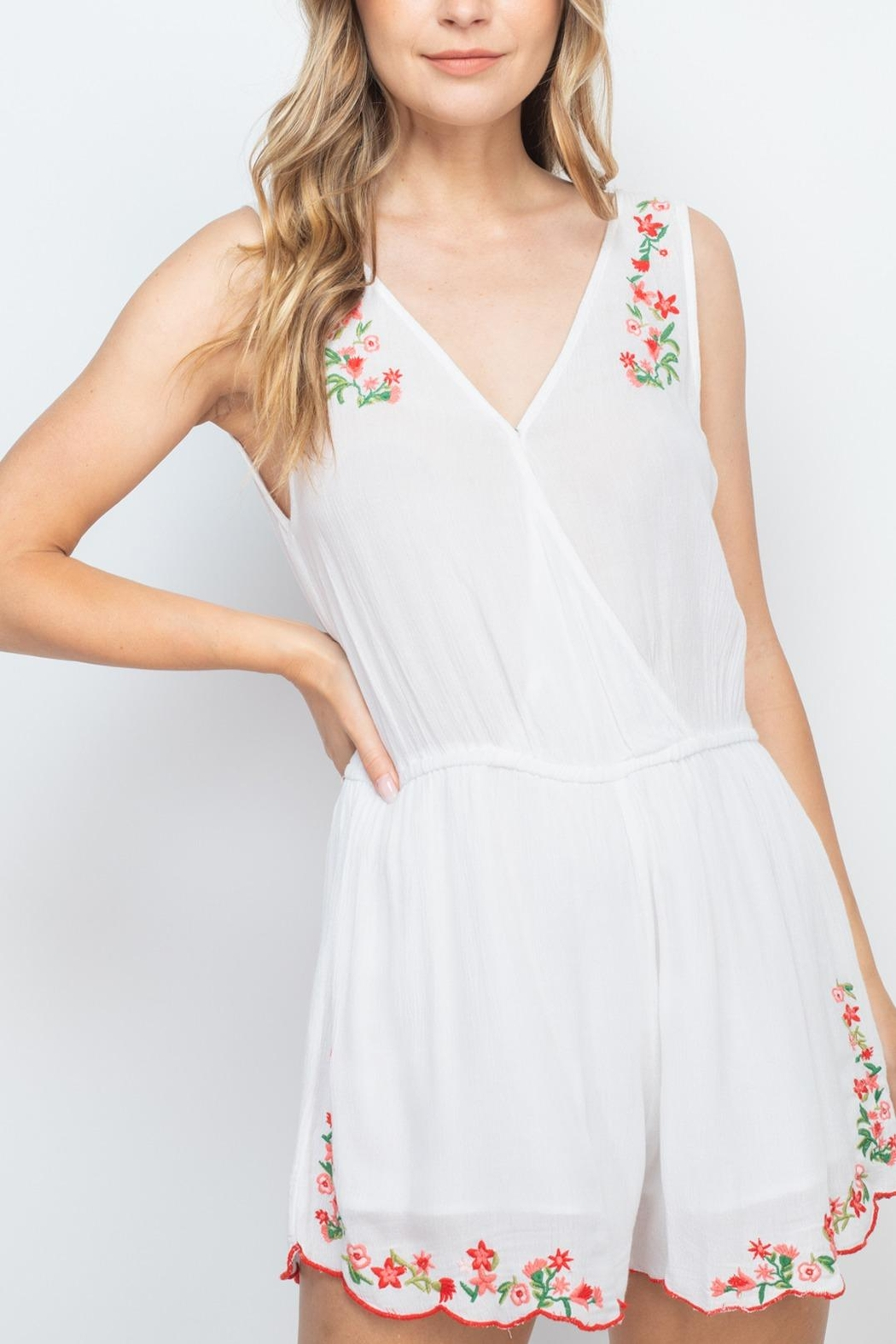 Riah Fashion White-With-Flowers-Embroidery-Romper - Main Image