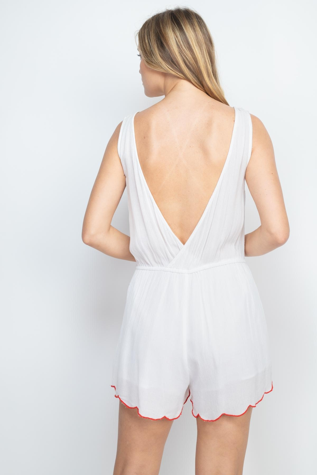 Riah Fashion White-With-Flowers-Embroidery-Romper - Front Full Image