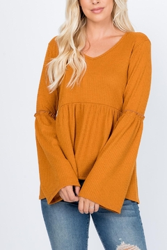 Riah Fashion Wide-Sleeve-Elbow-Shirring-Detail-Waffle-Top - Product List Image