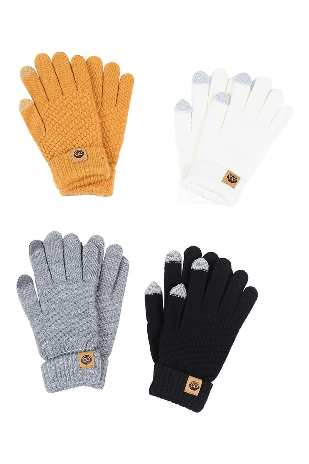 Riah Fashion Winter-Gloves-Knit-Smart-Touch-Assorted-Set - Main Image