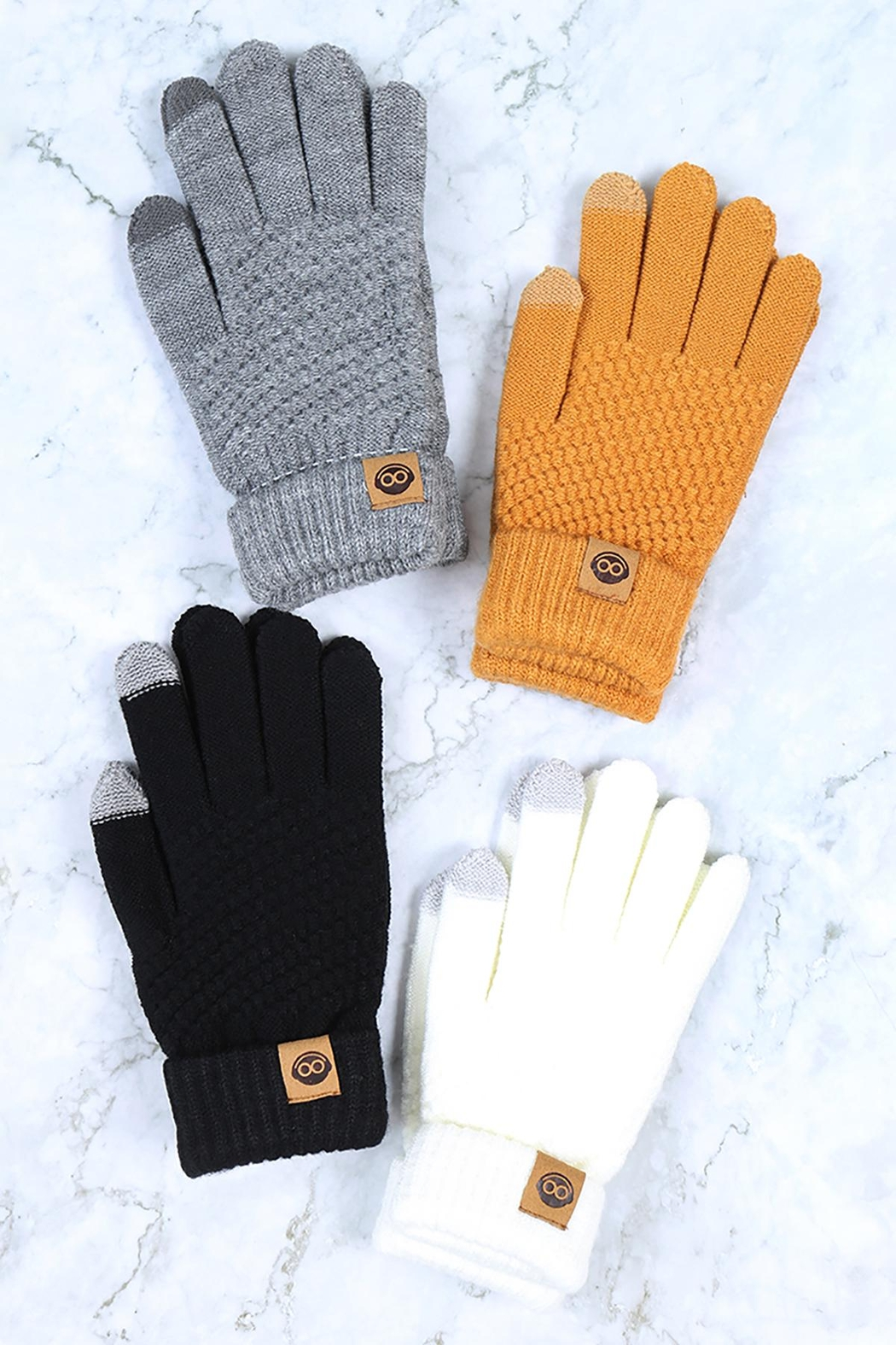 Riah Fashion Winter-Gloves-Knit-Smart-Touch-Assorted-Set - Front Full Image