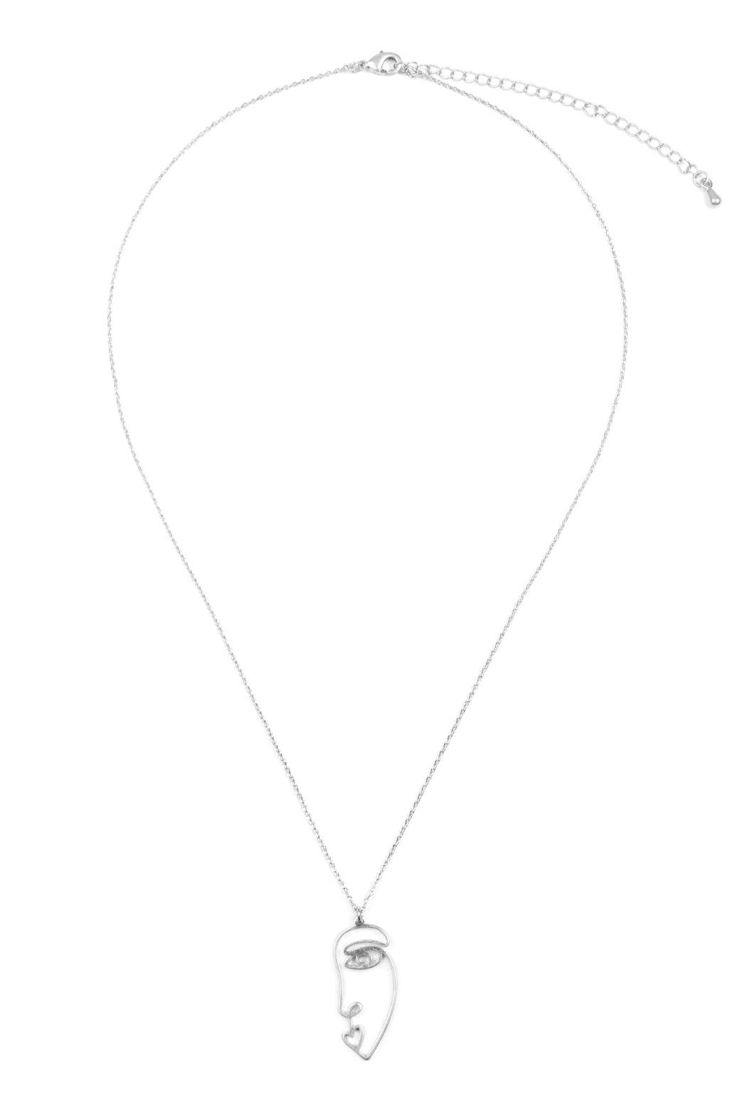Riah Fashion Wire Face Necklace - Front Cropped Image
