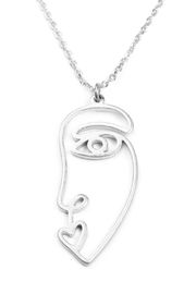 Riah Fashion Wire Face Necklace - Front full body