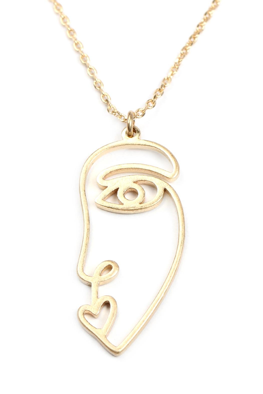 Riah Fashion Wire Face Necklace - Front Full Image