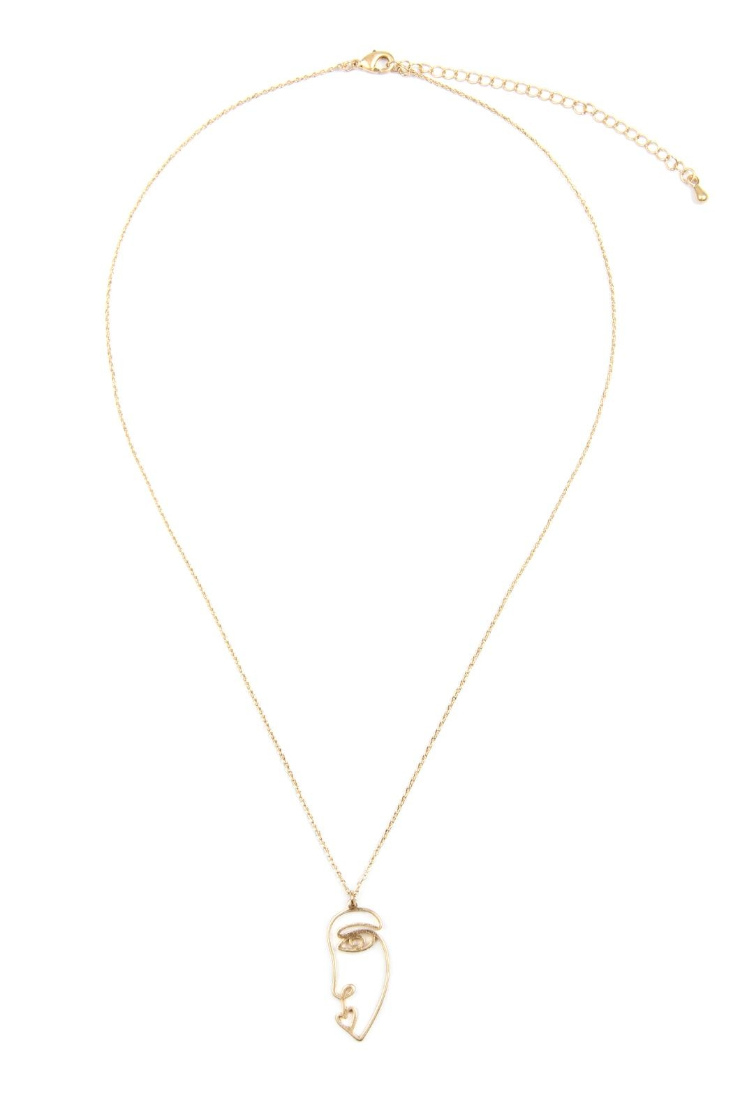 Riah Fashion Wire Face Necklace - Main Image