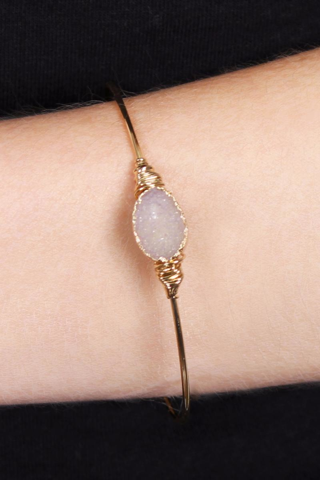 Riah Fashion Wired Oval-Resin Druzy-Bracelet - Front Full Image