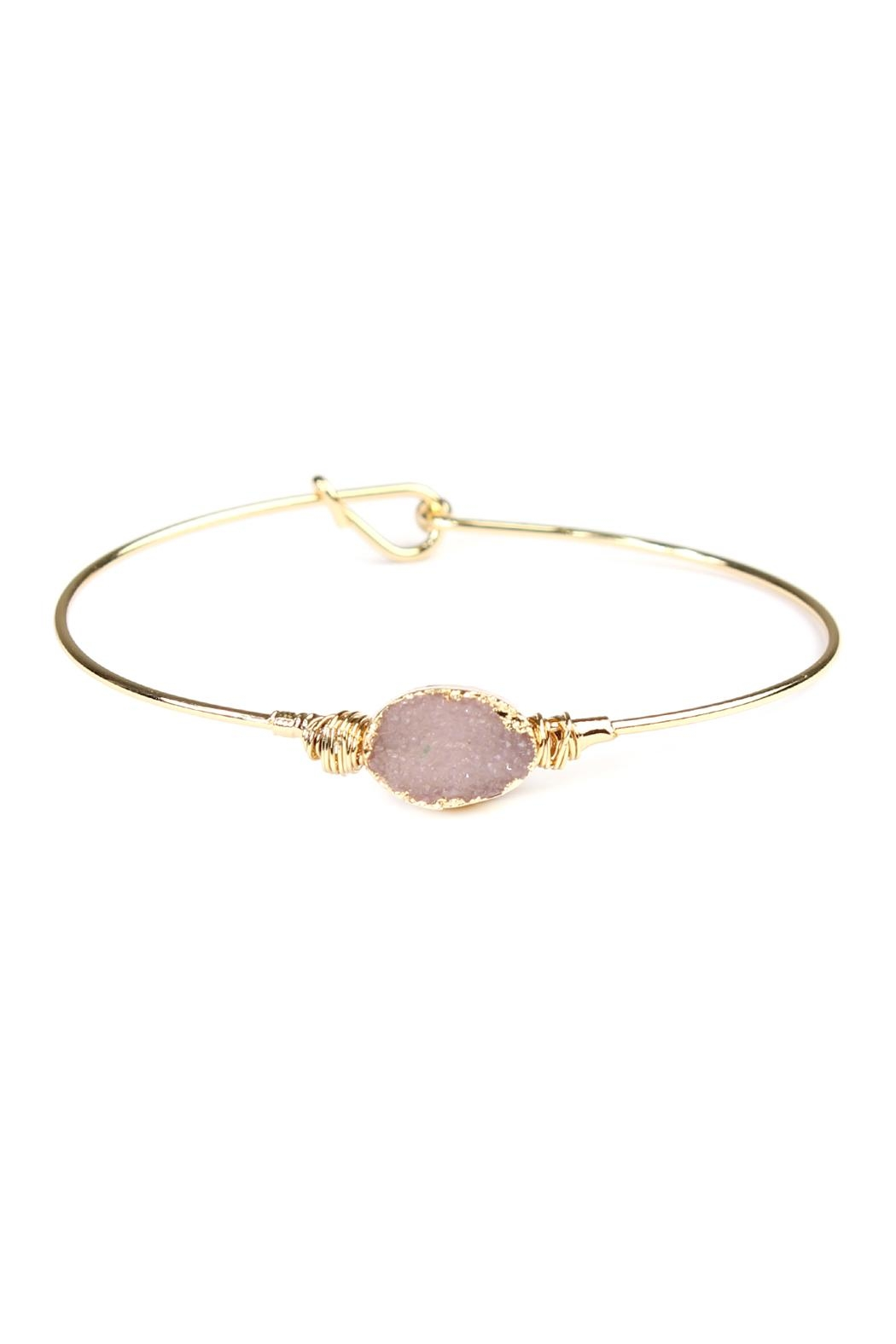Riah Fashion Wired Oval-Resin Druzy-Bracelet - Front Cropped Image