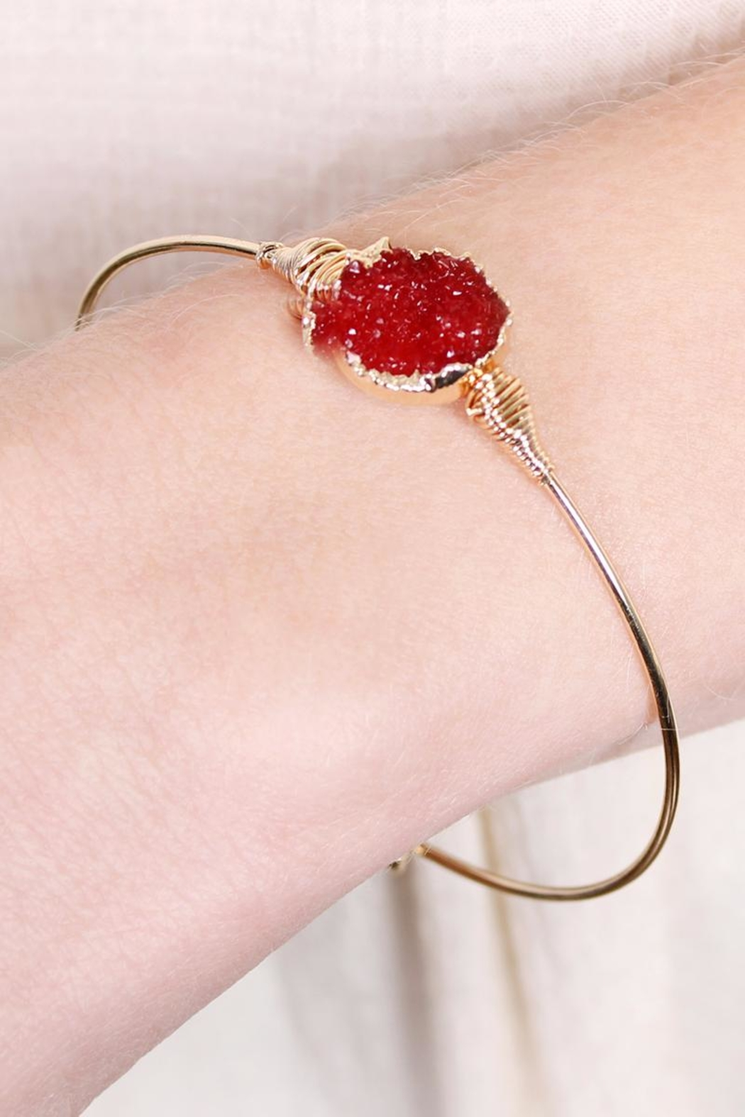 Riah Fashion Wired Round-Resin Druzy-Bracelet - Front Full Image