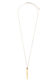 Riah Fashion Wood Bar Pendant Necklace - Front full body